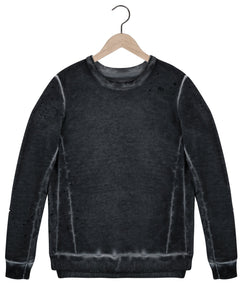 Sid Distressed Sweatshirt in Anti Black