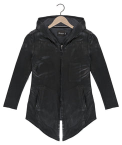 Legacy waxed cardigan in onyx black - DE LA COMMUNE x Reese De Luca
