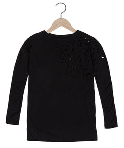 Beckham bamboo destroyed tee in black - DE LA COMMUNE x Reese De Luca