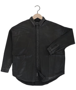 Parson Waxed Terry Shirt in Onyx Black