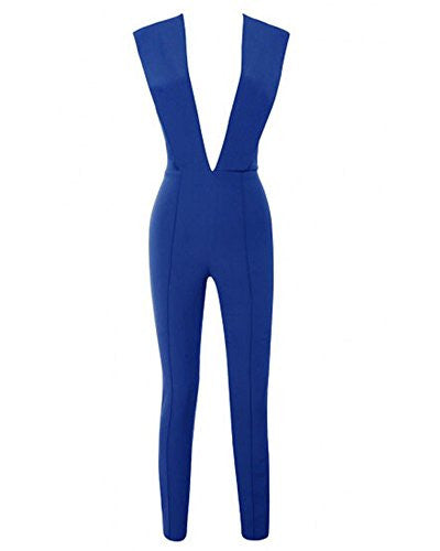 BEYOND LAVISH Deep V Neck one piece pant suit