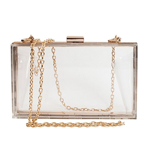 BEYOND LAVISH Crystal Clear Acrylic Box Clutch