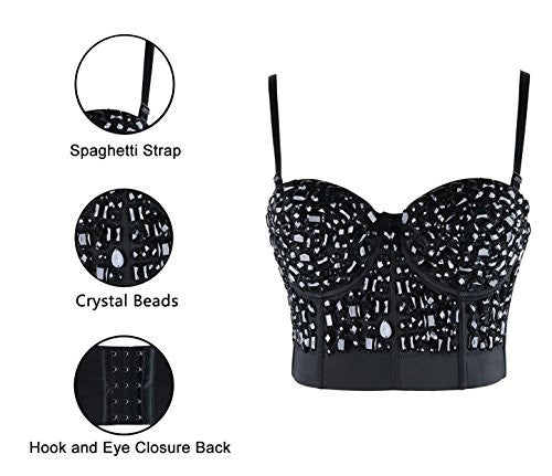Beyond  Lavish  Rhinestone Push Up Bustier Crop Top