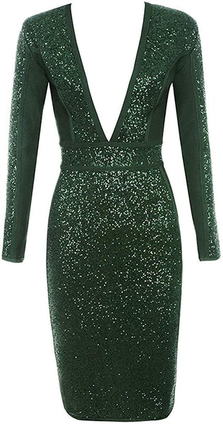 "BEYOND LAVISH  ""Money Shine"" Deep V Sparkling  Longsleeve Midi Dress"