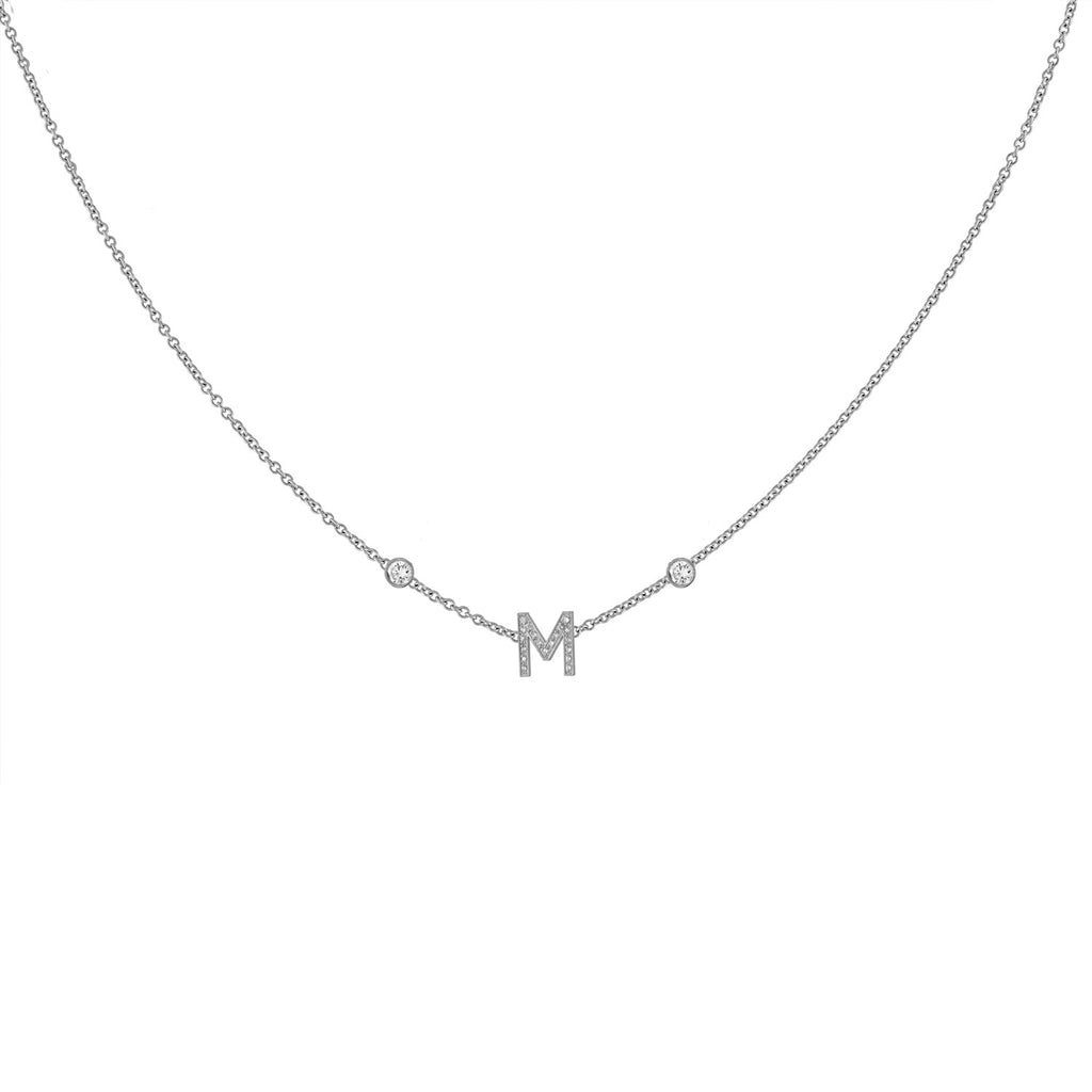 Mini Pave Letter Necklace with Bezels