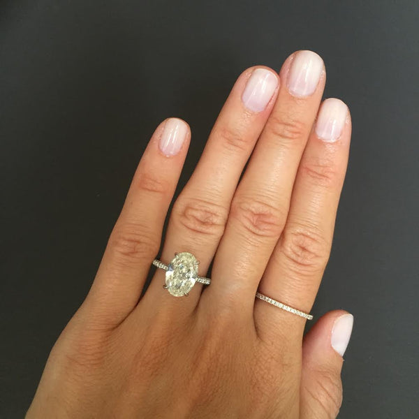 Oval Diamond With Three Sided Pave Engagement Ring