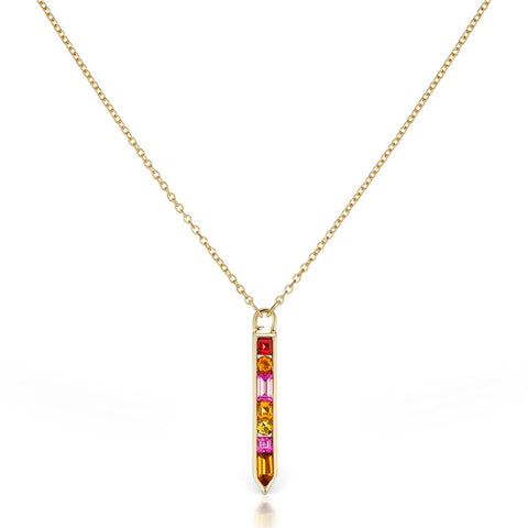Vertical Gemstone Arrow Necklace