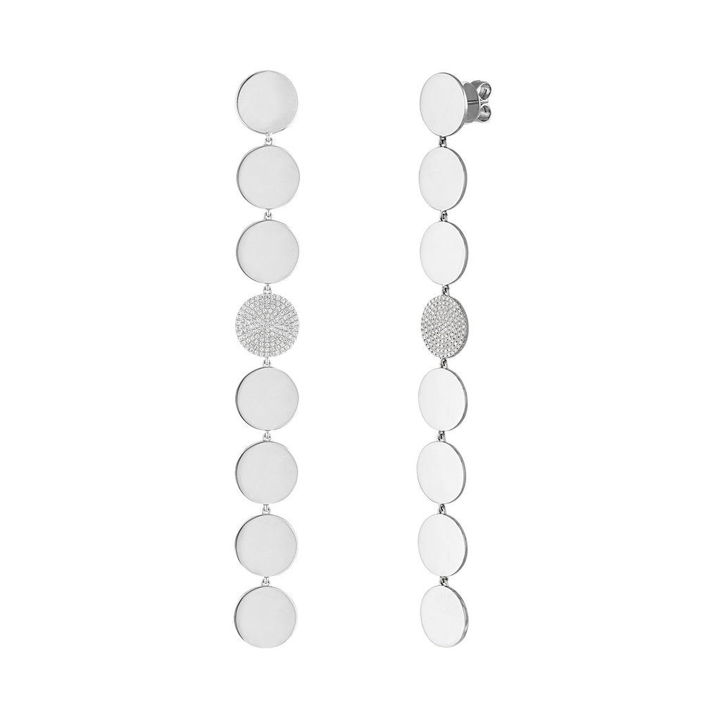 Extra Long Disc Drop Earrings