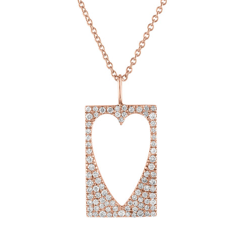 Diamond Cutout Heart Pendant