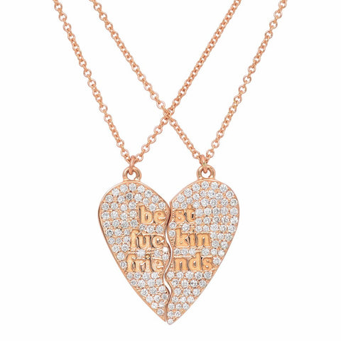 BFF Heart Necklace with Diamonds
