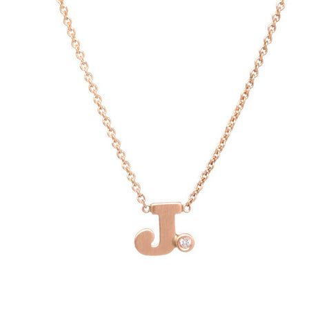 Letter Necklace with Single Diamond Bezel
