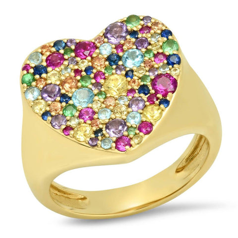 Multicolored Heart Signet Ring