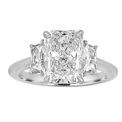 Radiant Engagement Ring with Trapezoid Cut Side Stones
