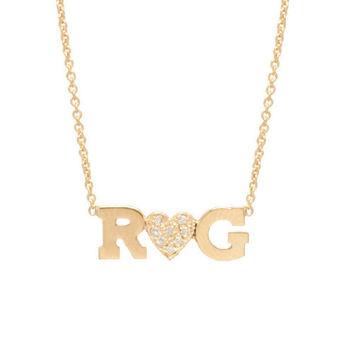 Double Letter Necklace with Pave Diamond Heart
