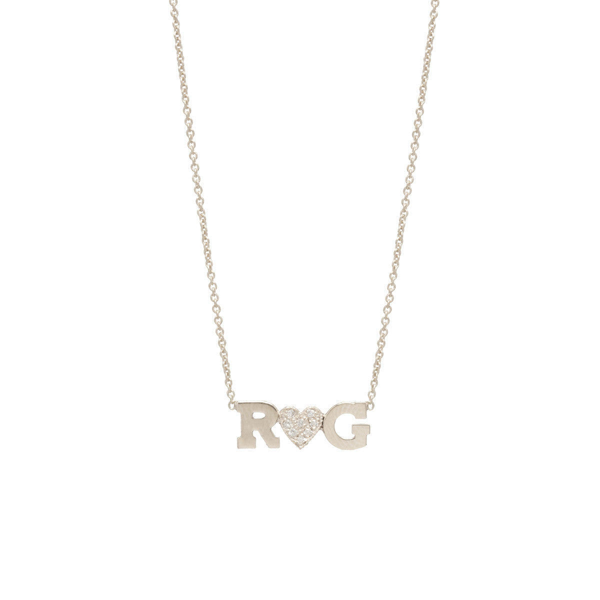 Double Letter Necklace with Pave Diamond Heart - Stephanie Gottlieb