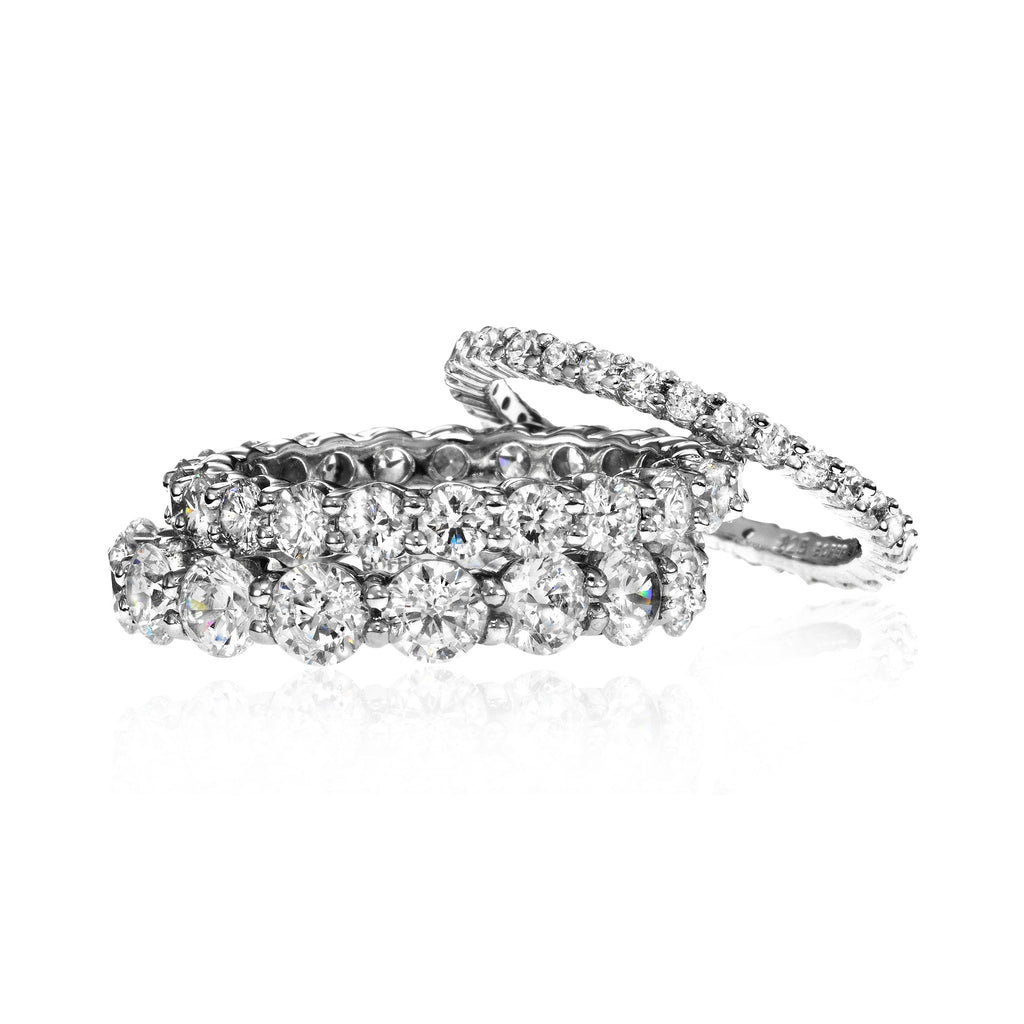 eternity in wb bands round shared pave ct band diamond prong platinum white gold