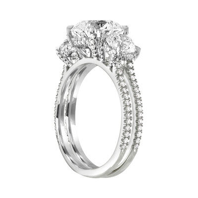 Three Stone Double Pave Engagement Ring