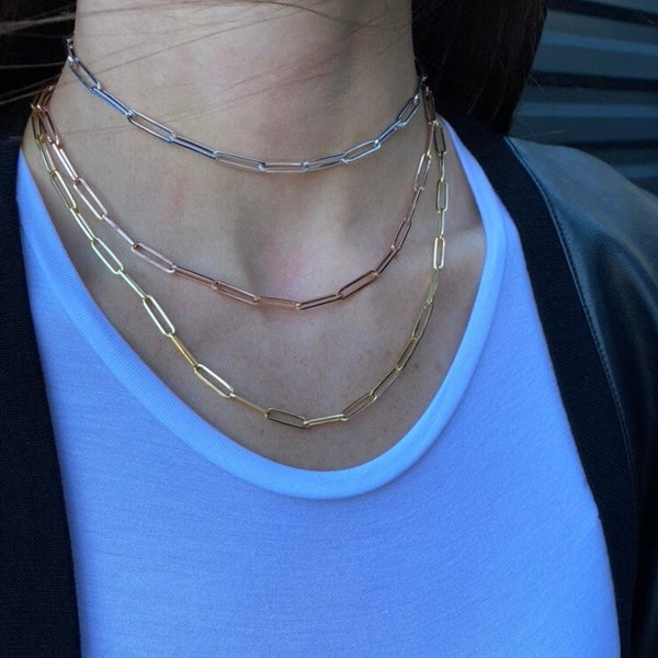 Large Paper Clip Chain Necklace