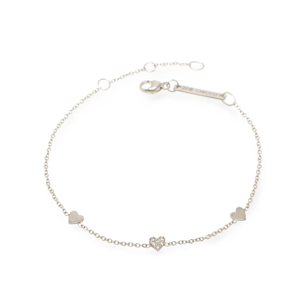 Three Itty Bitty Hearts Bracelet with One Pave