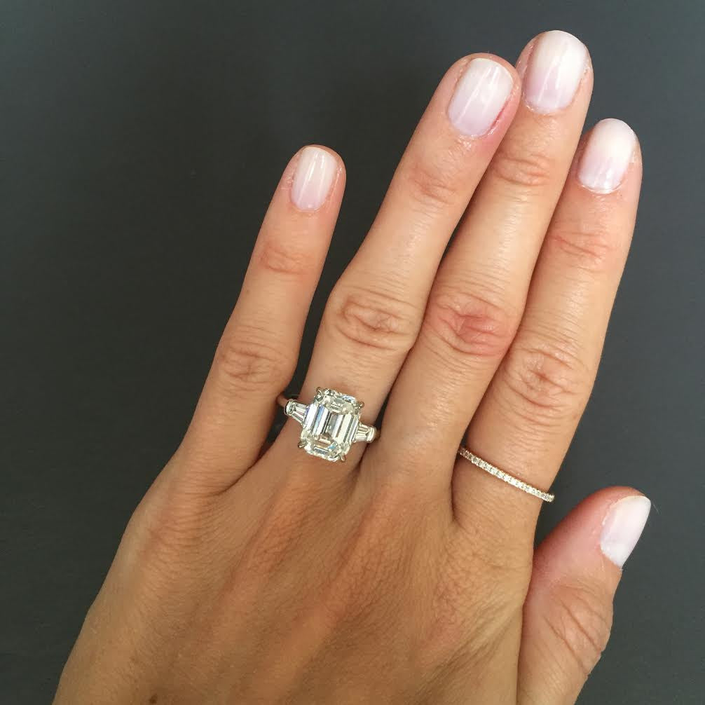 Emerald Cut Engagement Ring With Tapered Baguettes Stephanie Gottlieb