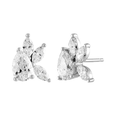 Pear and Marquise Diamond Cluster Earrings