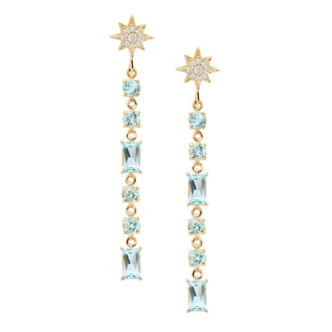 Blue Topaz North Star Baguette Earrings