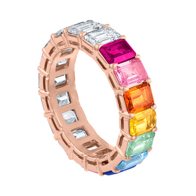 Custom Emerald Cut Rainbow Eternity Band