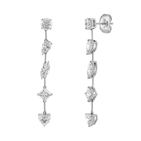 Multi Shaped Diamond Drop Earrings