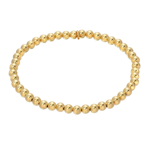Gold Bead Bracelet with Charms