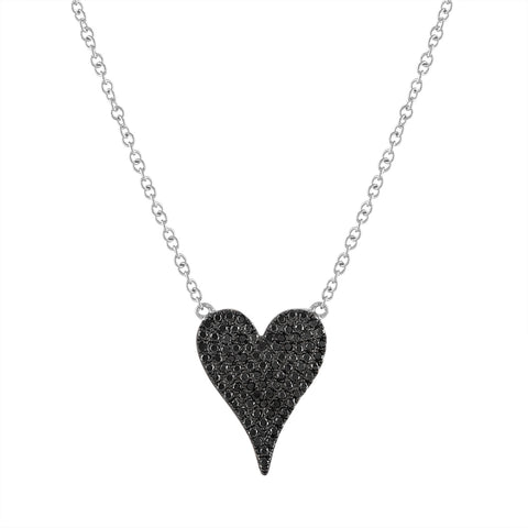 Black Diamond Small Heart Necklace