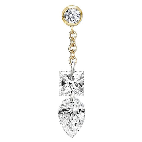Princess and Pear Diamond Floating Chain Stud Earrings