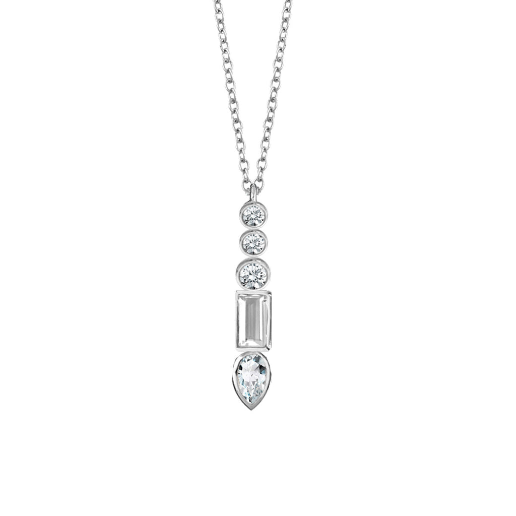Multi Stone Vertical Bar Necklace