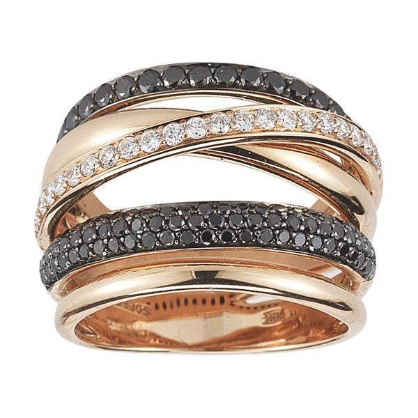 Black and White Diamond Domed Criss-Cross Band