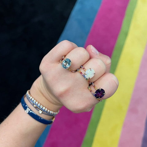 Rainbow Band and a Half with Gemstone
