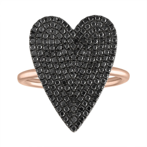 Black Diamond Pave Jumbo Heart Ring
