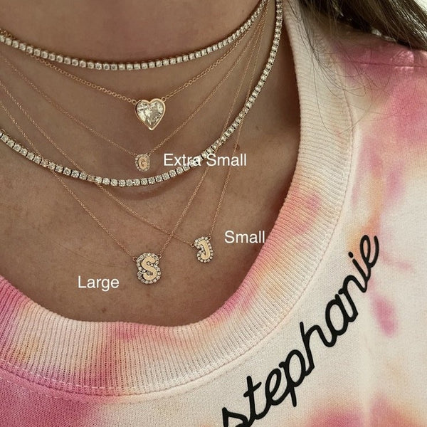 Large Bubble Name with Pave Outline Necklace
