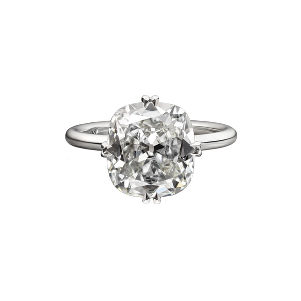 4.04 Carat Antique Cushion Cut Solitaire Engagement Ring