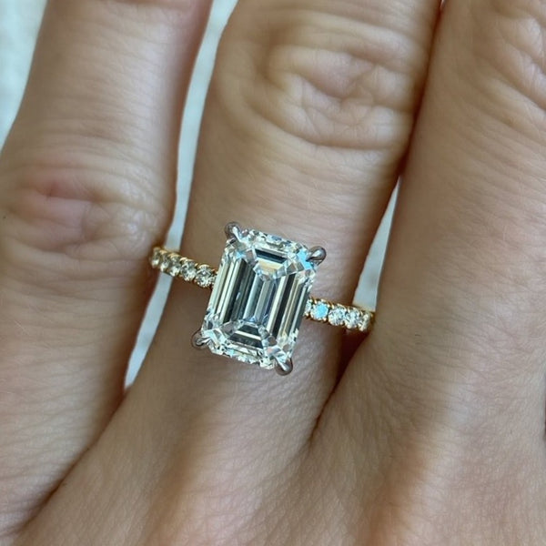 2.53 Carat Emerald Cut Engagement Ring with Diamond Pavé