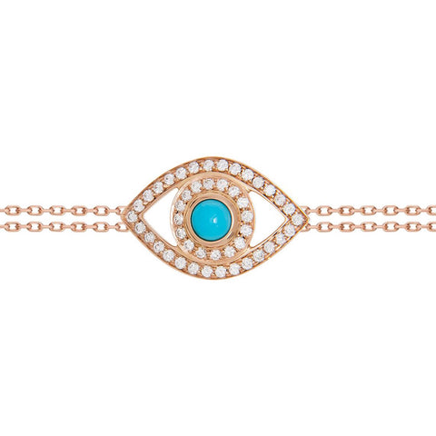 Diamond and Turquoise Eye Bracelet