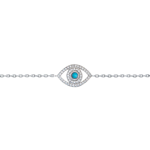 Mini Diamond and Turquoise Eye Bracelet