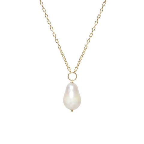 Small Square Oval Link Baroque Pearl Long Necklace