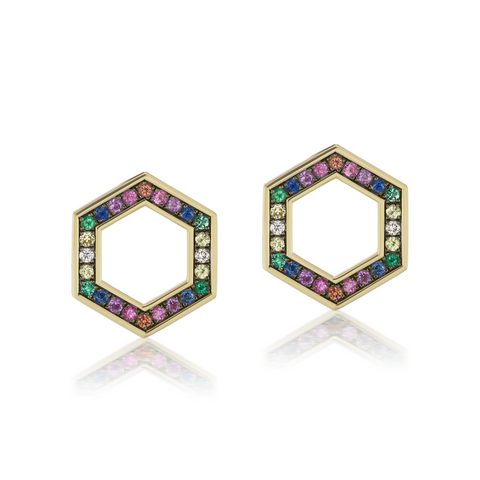 Rainbow Hexagon Stud Earrings