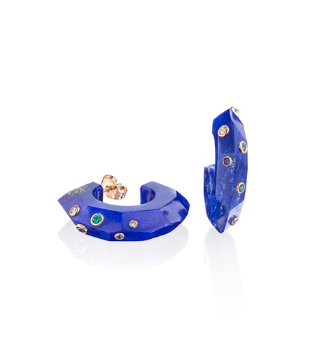 Lapis Facet Stone Hoops