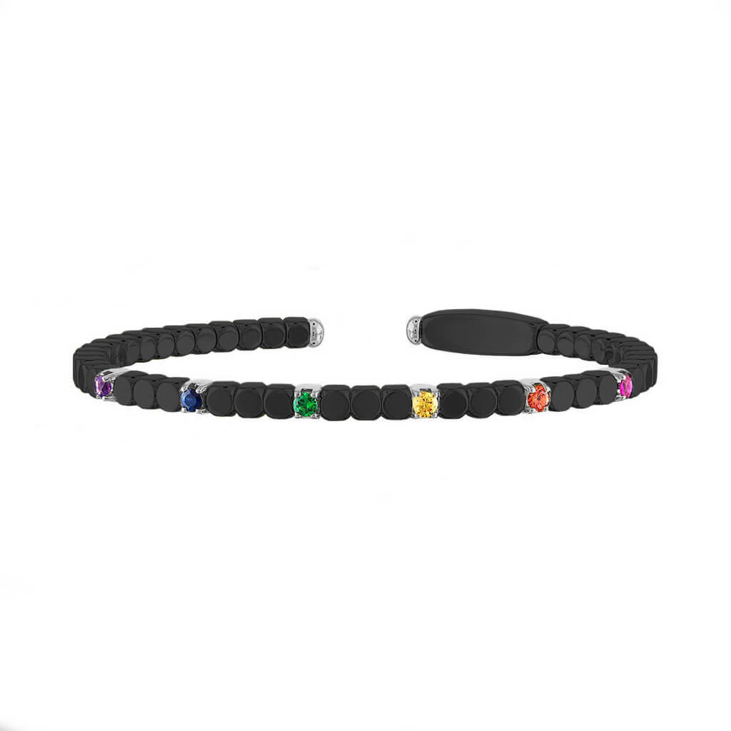 Women's Matte Black Ceramic Dado Bracelet with Rainbow Colored Stones