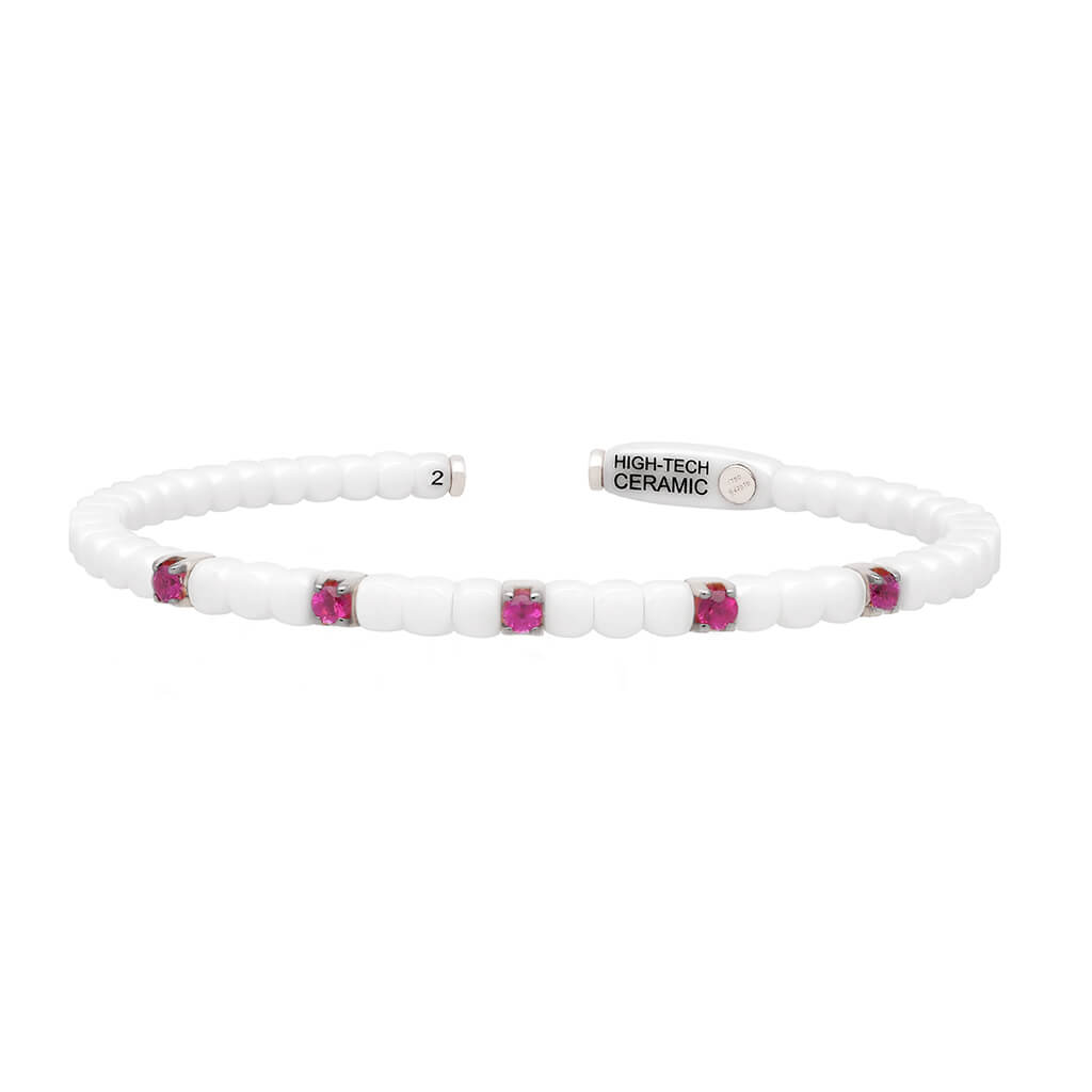 Women's White Ceramic Dado Bracelet with Five Colored Stones