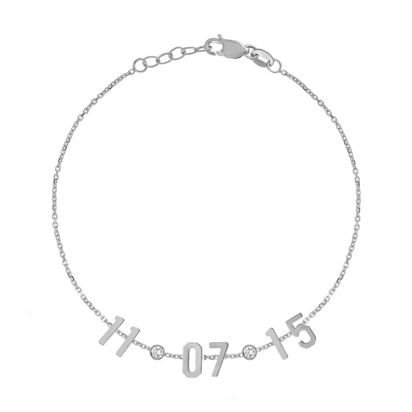 Mini Date Bracelet with Diamond Bezels