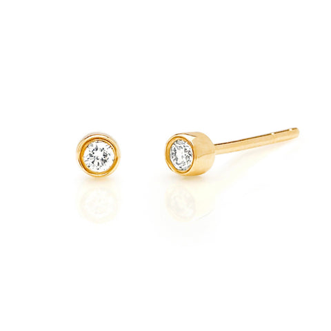 IN STOCK - Diamond Bezel Stud Earrings