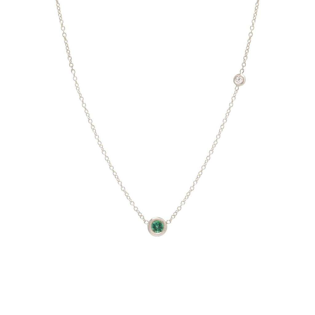 Colored Stone and Floating Diamond Necklace