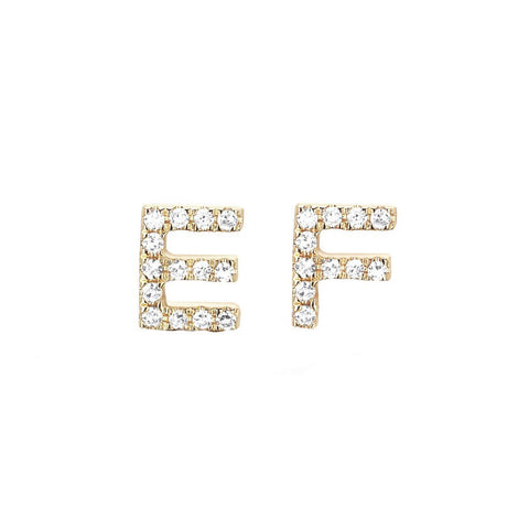 Mini Diamond Initial Stud Earring