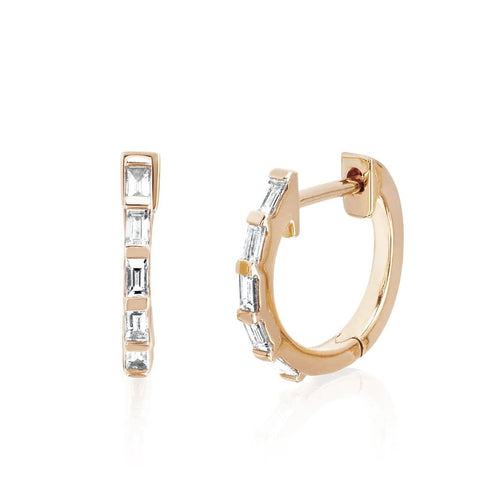 Diamond Baguette Huggie Earrings
